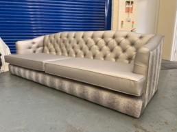 Silver leather sofa Luton