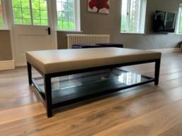 Cream Glass Leather Coffee table Luton